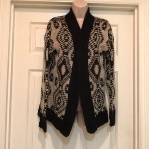 Rewind black and white open cardigan size M